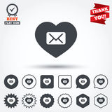 Love Mail icon. Envelope symbol. Message sign. Mail navigation button. Circle, star, speech bubble and square buttons. Award medal with check mark. Thank you stock illustration