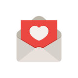 Love mail icon. An open envelope with a love letter inside. Love mail icon concept. Vector illustration in flat style isolated on white background vector illustration