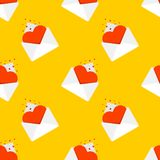 Love mail pattern seamless. Heart in an envelope. Message Valentine`s Day. Valentine background.  stock illustration