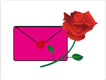 Love mail and red rose Royalty Free Stock Photos