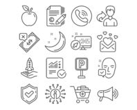 Love mail, Rejected payment and Copywriting icons. Face accepted, Parking and Add products signs. Vector royalty free illustration