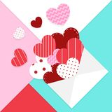 Love mail valentines card vector design. And heart symbol colorful background royalty free illustration