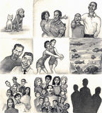 Love makes a family. Multiple panels of families and friends on one page. Dog and cat. Daughter and step-father. Son and Dad. Gay couple. Two lesbians dancing Royalty Free Illustration