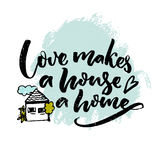 Love makes a house a home. Inspiration quote about love and family with illustration of a house. Typography poster. Design stock illustration