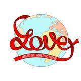 Love makes the world go round. Text on globe background. Stock Photos