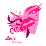 Love makeup beauty logo emblem in form of girl face Stock Photo