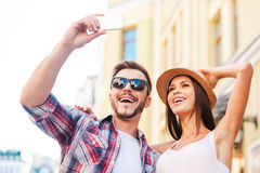 We love making selfies. Stock Photography
