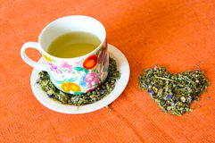 Love for mallow herbal tea cup Royalty Free Stock Image