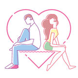 Love between man and woman. Teens, line art style Royalty Free Stock Image