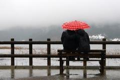 Love. Man and a women under an umbrella in the rain stock photos