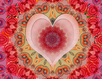 Love mandala. Beautiful spiritual mandala love heart Royalty Free Stock Photography