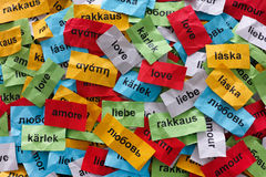 Love in many languages Royalty Free Stock Photography