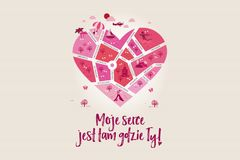 Love map `My heart is where you are!` In the shape of a heart to celebrate Valentine`s Day greeting card - in Polish Royalty Free Stock Photography