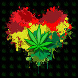 Love marijuana. Illustration of marijuana leaf and hearts on a black background Royalty Free Stock Images