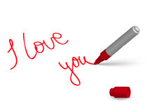 Love marker. Red marker and English phrase «I love you» on the white background Stock Images