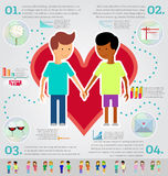 Love marriage couple of two men infographic set. Same-sex marria Royalty Free Stock Photography