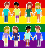 Love marriage couple of two women or girls and two men. Same-sex marriage. Vector illustration, image LGBT International flag Stock Image