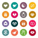 Love, marriage, engagement and Valentins day icon set Royalty Free Stock Photos