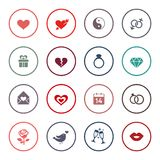 Love, marriage, engagement and Valentins day icon set Royalty Free Stock Images