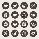 Love, marriage, engagement and Valentins day icon set Stock Photo