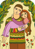 Love Married Couple. The man carries the girl on hands. A young loving couple Royalty Free Stock Photography