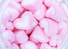 Love Marshmallows. Close-up of pink marshmallow in heart shape for Valentine Day royalty free stock photo