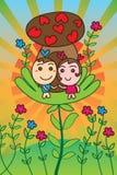 Love mascot mushroom love house cute card Stock Photo