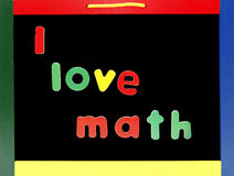 Love math chalkboard. I love math concept on colorful chalkboard Royalty Free Stock Images