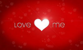 Love me. Metallic text and heart Stock Image