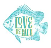 Love Me Back Card. Vintage Valentines day card template that reads Love Me Back inside a fish. It can be used as a poster, a greeting card, a banner or a Stock Photo