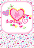 Love me with hearts. Vector illustration of hearts with a matching repeat pattern Stock Images