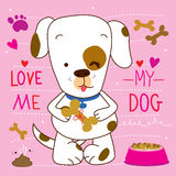 Love me love my Dog Cartoon Cute Vector Design Stock Photo
