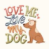 Love my dog lettering 03 vector illustration