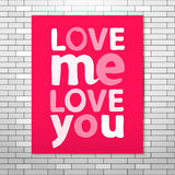 Love me Love you Pink poster Stock Images