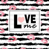 Love me. Pink lips kisses prints background. Lipstick on stripe . Trendy layout. Postcards, logos, labels. Royalty Free Stock Photo