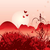 Love meadow. Red love meadow background illustration Royalty Free Stock Photography
