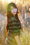 Love meadow01. Asian pretty girl live in meadow Stock Photos