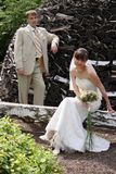 Love meeting. Bride and groom meet at a romantic garden Stock Photo