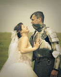 Love meeting / Princess Bride and her knight. Long-awaited meeting / Princess Bride and her knight / retro style toned Royalty Free Stock Images