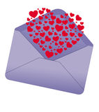Love message. Illustration of a valentine mail with many hearts coming out Royalty Free Stock Images
