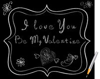 Love message. Over black background Royalty Free Stock Image