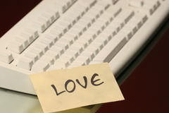 Love message. On the keyboard Royalty Free Stock Photos