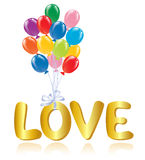 Love message with ballons. Royalty Free Stock Images