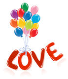 Love message with ballons. Royalty Free Stock Image