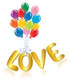 Love message with ballons. Stock Image