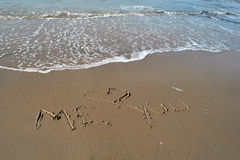Love message at the beach Royalty Free Stock Photography
