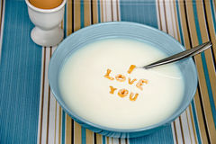 Love message in cereal bowl Royalty Free Stock Images