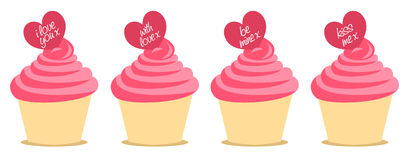 Love message cupcakes. Set of 4 pink cupcakes with love / valentine's messages. Easy to edit. Additional PNG comes with a transparent background Royalty Free Stock Image