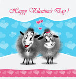 Love message e-card. Happy Valentines day! message with text e-card. Romantic greetings for your loved one. Beautiful cute Valentine card that you can send email stock illustration