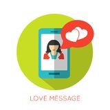 Love message flat concept. Valentines day icon for Royalty Free Stock Images